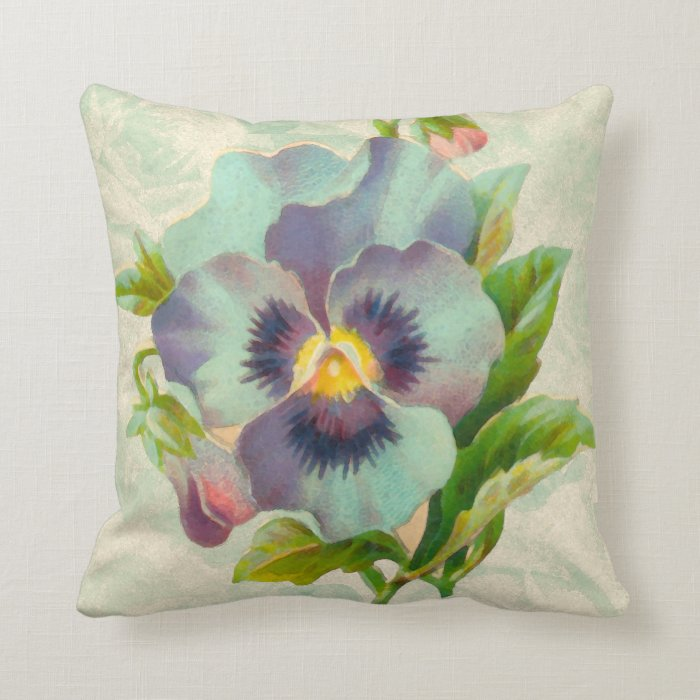 Vintage Blue Throw Pillows : Blue Vintage Pansy Watercolor Throw Pillow Zazzle