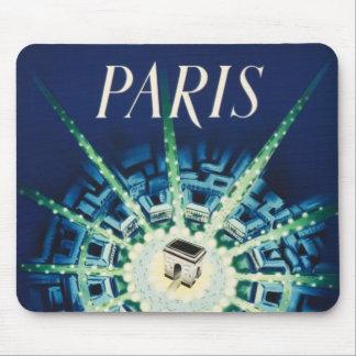 Blue Vintage Paris City French Air Travel Mouse Pad