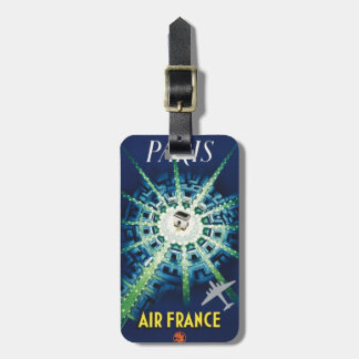 Blue Vintage Paris French Air Travel Europe Luggage Tag