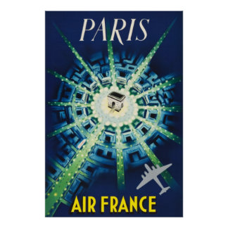 Blue Vintage Paris French Air Travel Europe Poster