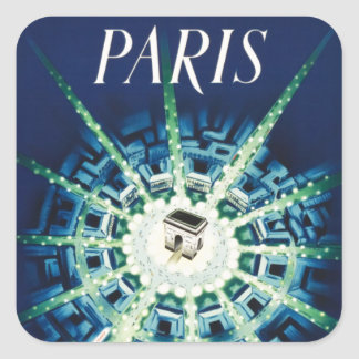 Blue Vintage Paris French Air Travel Europe Square Sticker
