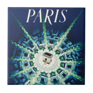 Blue Vintage Paris French Air Travel Europe Tile