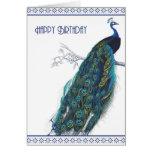 Blue Vintage Peacock - Happy Birthday card