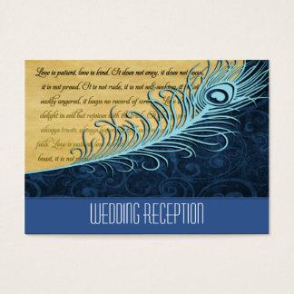 Blue Vintage Peacock Wedding Reception Cards