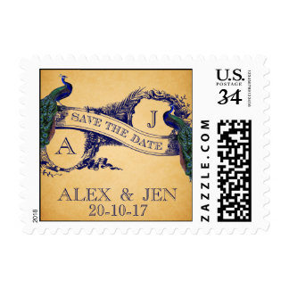 BLUE VINTAGE PEACOCKS SAVE THE DATE POSTAGE STAMP