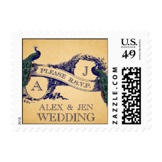 BLUE VINTAGE PEACOCKS WEDDING RSVP POSTAGE