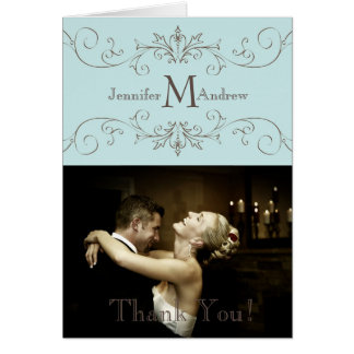 Blue Vintage Photo Thank You Card Wedding