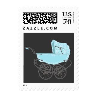 Blue Vintage Pram Baby Shower Postage Stamp