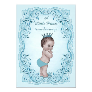 Blue Vintage Prince Baby Shower 5x7 Paper Invitation Card