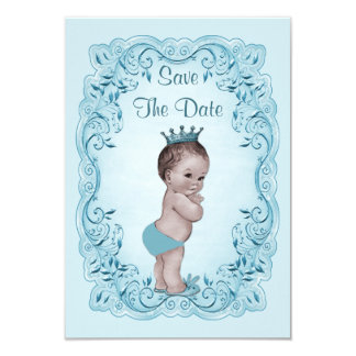 Blue Vintage Prince Save The Date Baby Shower Card