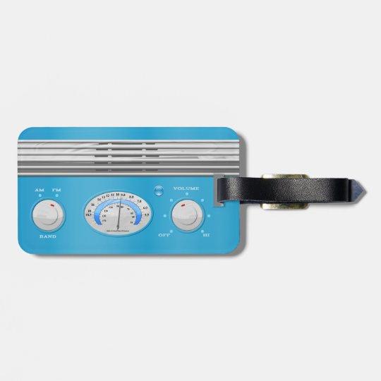 Blue Vintage Radio Bag Tag