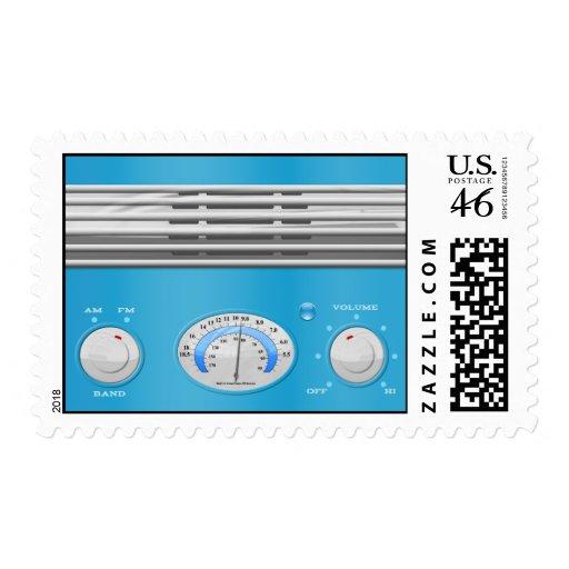 Blue Vintage Radio Postage Stamp