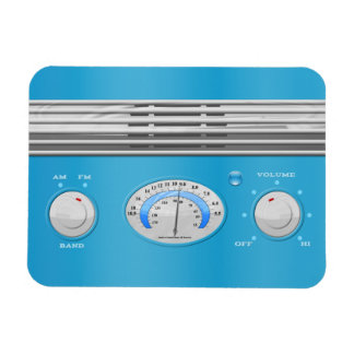 Blue Vintage Radio Rectangular Magnets