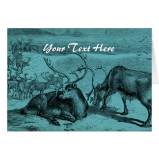 Blue Vintage Reindeer Illustration Greeting Card