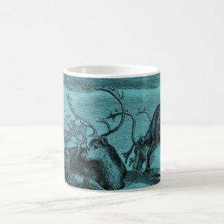 Blue Vintage Reindeer Illustration Coffee Mug