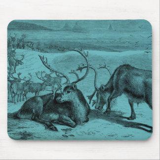 Blue Vintage Reindeer Illustration Mouse Pad