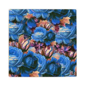 Blue Vintage Roses Grunge Wood Coaster