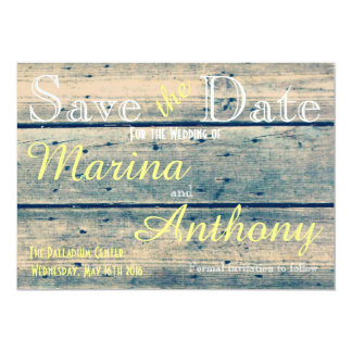 Blue Vintage Rustic Romance Save the Date No. 6 5x7 Paper Invitation Card