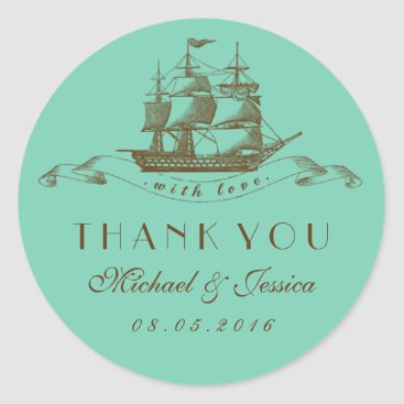 Beach Themed Blue Vintage Ship Wedding Thank You Sticker
