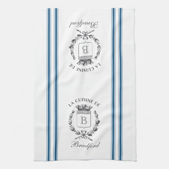 Blue Vintage Style French Sack with Custom Name Kitchen Towel
