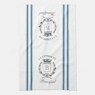 Blue Vintage Style French Sack With Custom Name Towel at Zazzle