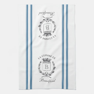Blue Vintage Style French Sack with Custom Name Towel