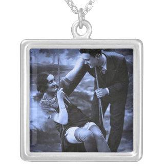 Blue Vintage Swing Square Pendant Necklace
