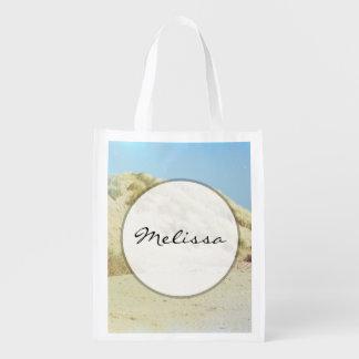 Blue Vintage Texture, Sandy Dunes Landscape Grocery Bag