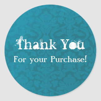 Blue Vintage Thank You For Your Purchase Stickers