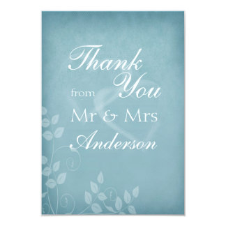 Blue Vintage Thank You 3.5x5 Paper Invitation Card