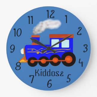 Blue vintage themed Train Large Clock