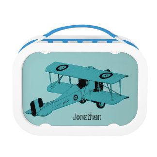 blue vintage toy biplane lunch box