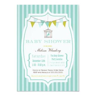 "Blue vintage typography baby shower invitation 5"" x 7"" invitation card"