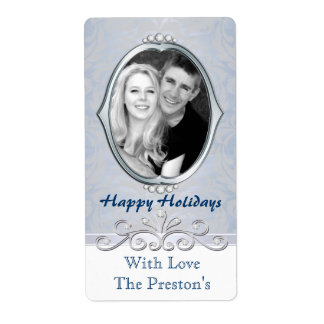 Blue Vintage Victorian Photo Holiday Gift Label