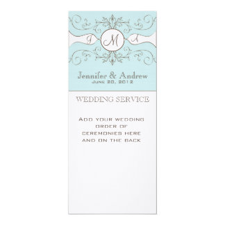 Blue Vintage Wedding Programs Linen 4x9.25 Paper Invitation Card