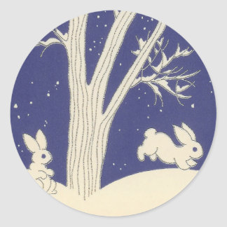 Blue Vintage White Bunnies Hopping in the Snow Classic Round Sticker