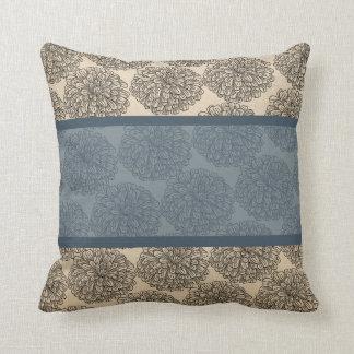 Blue Vintage Zinnia Pillow