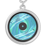 Blue Vinyl Record Necklace