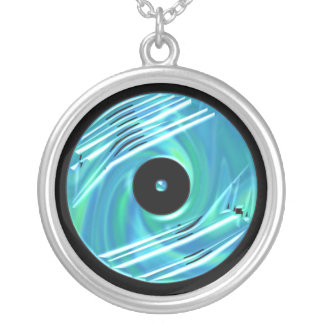 Blue Vinyl Record Necklace