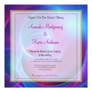 Blue Violet and Pink Cosmic Swirly Fracta Wedding Card