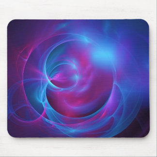 Blue Violet and Pink Cosmic Swirly Fractal Mouse Pad