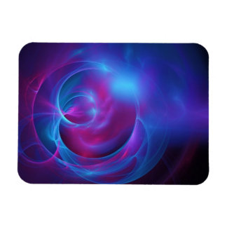 Blue Violet and Pink Cosmic Swirly Fractal Rectangular Photo Magnet