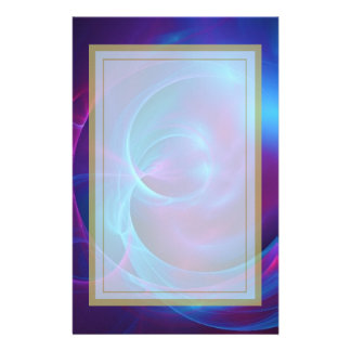 Blue Violet and Pink Cosmic Swirly Fractal Stationery Design
