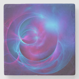 Blue Violet and Pink Cosmic Swirly fractal Stone Coaster