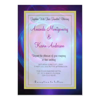 Blue Violet and Pink Cosmic Swirly Fractal Wedding Card