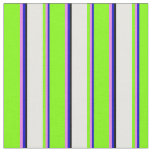 [ Thumbnail: Blue, Violet, Chartreuse, White & Black Colored Fabric ]