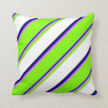 [ Thumbnail: Blue, Violet, Chartreuse, White & Black Colored Throw Pillow ]