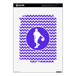 Blue Violet Chevron Basketball Decal For iPad 3