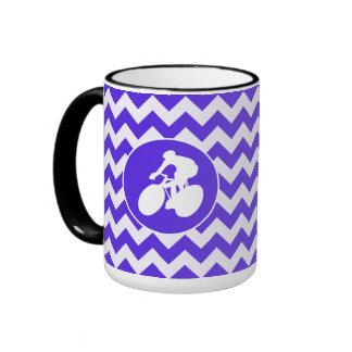 Blue Violet Chevron; Cycling Coffee Mug