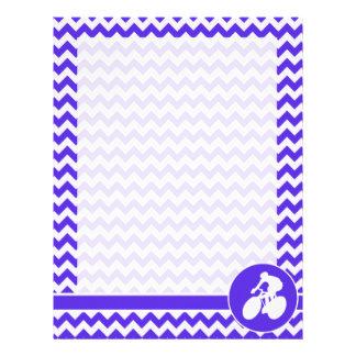 Blue Violet Chevron; Cycling Personalized Letterhead